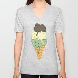 Mint-Vanilla-Chocolate Ice Cream Sundae Unisex V-Neck