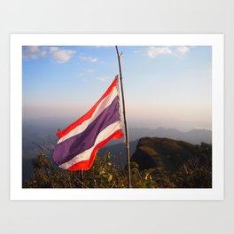 Thai flag on Mountain Art Print