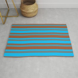 Deep Sky Blue and Sienna Colored Striped/Lined Pattern Rug