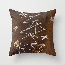 Dragonfly and Flower Graffiti on Rust Throw Pillow