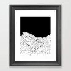 Lines in the mountains - b&w Framed Art Print