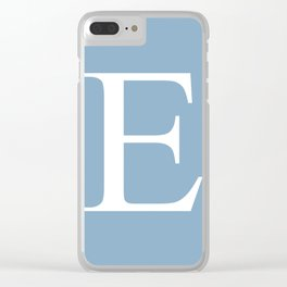 Letter E sign on placid blue color background Clear iPhone Case