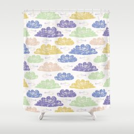 Hand drawn vector cloud illustration. Shower Curtain