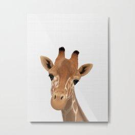 Safari nursery art, Giraffe print, Safari animals wall art, Baby giraffe Metal Print