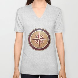 Wind rose drawn on a wooden surface Unisex V-Neck