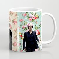 johnlock Mugs featuring Flowercrowned  by thescudders