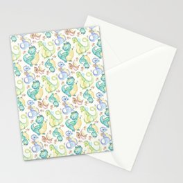 Watercolor Dinosaurs Hand Drawn Illustration Pattern Stationery Cards