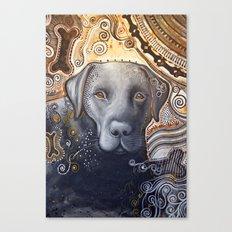 Rudy ... Abstract dog art, Black Labrador Canvas Print