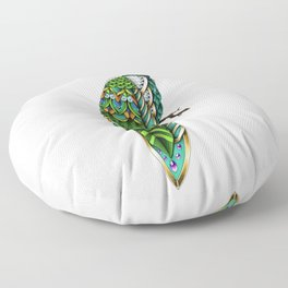Ornate Peacock Color Floor Pillow