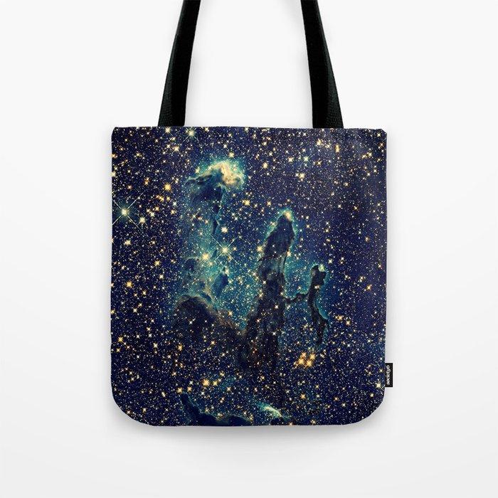 Pillars of Creation GalaxY  Teal Blue & Gold Tote Bag