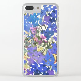 Blue Periwinkle Wildflowers Clear iPhone Case