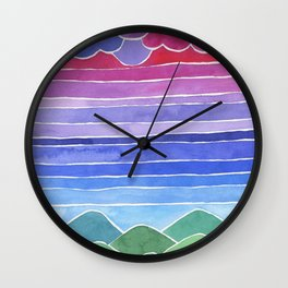 Delight Watercolor Landscape Painting Wall Clock