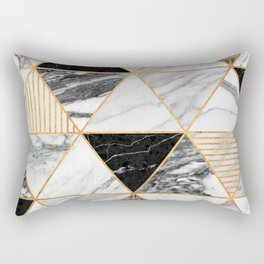 Marble Triangles 2 - Black and White Rectangular Pillow