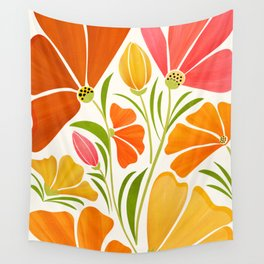 Spring Wildflowers / Floral Illustration Wall Tapestry