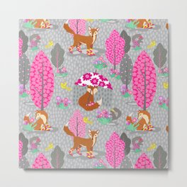Foxes in Galoshes - Pink and Gray Metal Print