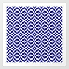 Navy Blue and White Chevron Squares Art Print