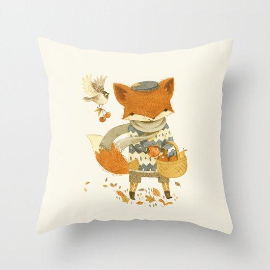Fritz the Fruit-Foraging Fox Throw Pillow