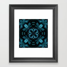 TEAL LEAVES MANDALA Framed Art Print