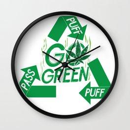 PUFF PUFF PASS GO GREEN Wall Clock