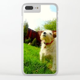 Doggo in the garden Clear iPhone Case
