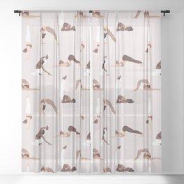 Woman yoga poses international pattern Sheer Curtain