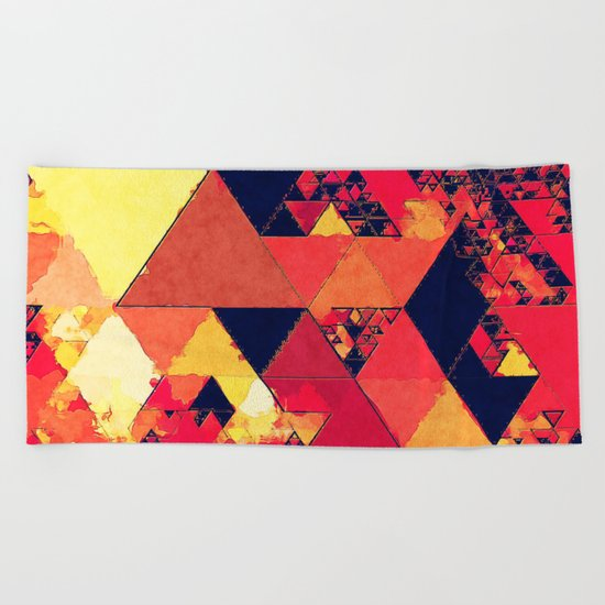 Pure fire- Red yellow black abstract Triangle pattern- Watercolor Illustration Beach Towel