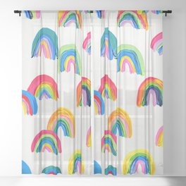 Abstract Rainbow Arcs - White Palette Sheer Curtain