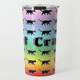 Cat Crazy Rainbow Travel Mug