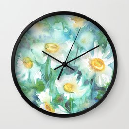 watercolor drawing - white daisies on a blue and green background, beautiful bouquet, painting Wall Clock