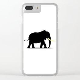 Cartoon Elephant Silhouette Clear iPhone Case