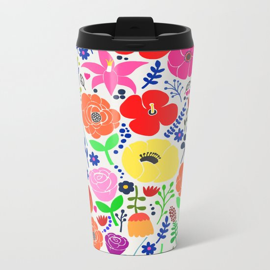 Flower Garden Metal Travel Mug