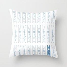 White Clothespins print Throw Pillow
