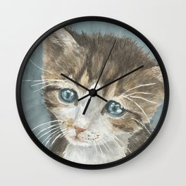 Kitten, watercolor potrait Wall Clock