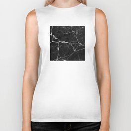 Black Suede Marble With White Lightning Veins Biker Tank
