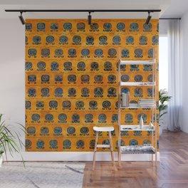 Maya Calendar Glyphs pattern orange and blue Wall Mural