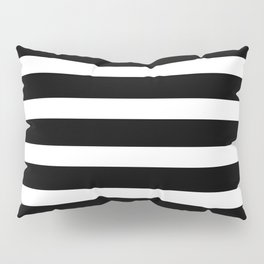 Wide Horizontal Stripe: Black and White Pillow Sham