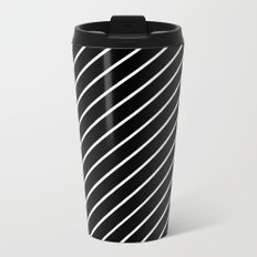 Hot 80s Style Diagonal Black and White Geometric Pattern Metal Travel Mug