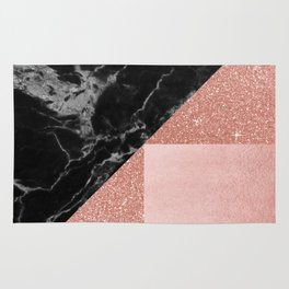Black Marble Rose Gold Rug