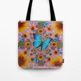 GRUNGY SUNFLOWER & BLUE BUTTERFLIES  PINK PATTERN Tote Bag