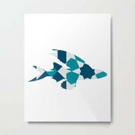 LONG FIN FISH SILHOUETTE WITH PATTERN Metal Print