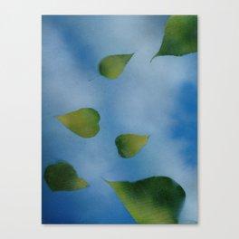 Green Leaves falling Canvas Print