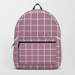 English lavender - violet color - White Lines Grid Pattern Backpack