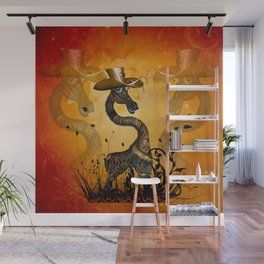 Funny steampunk giraffe with hat Wall Mural