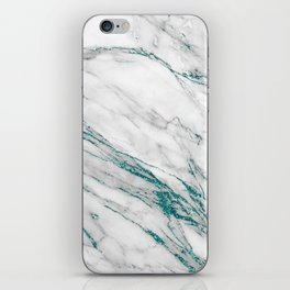 Gray Marble Aqua Teal Metallic Glitter Foil Style iPhone Skin