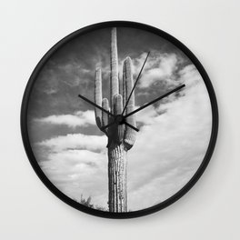 Cactus Photograph in Black and White Wall Clock