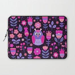 Midnight Pink Purple Owl Pattern Girls Animal Laptop Sleeve