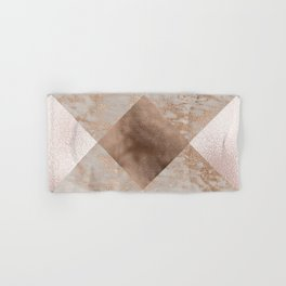 Copper and Blush Rose Gold Marble Gingham Hand & Bath Towel