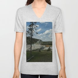 Firehole River And Geyser Area Unisex V-Neck