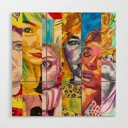 Female Faces Portrait Collage Design 1 Wood Wall Art