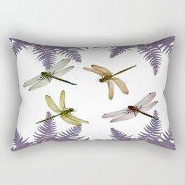 DRAGONFLIES & PURPLE-BROWN WOODLAND FERNS  ABSTRACT Rectangular Pillow